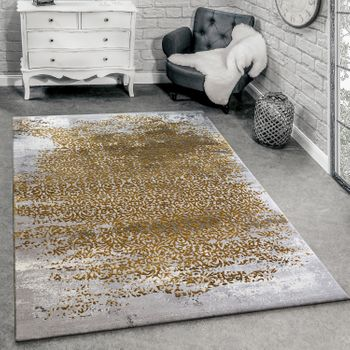 Modern designer living room rug with decorative pattern grey and honey yellow – Bild 1