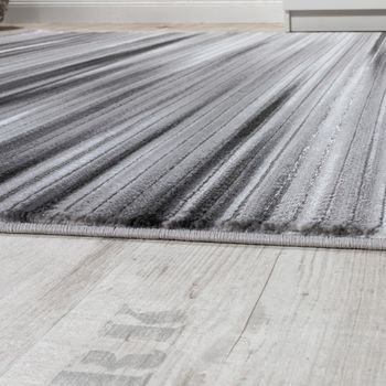 Rug Living Room Modern Striped Short-pile Shimmering Yarn Mottled Grey Charcoal – Bild 2