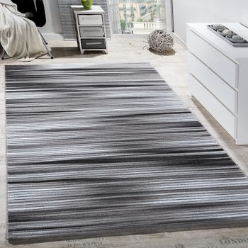 Rug Living Room Modern Striped Short-pile Shimmering Yarn Mottled Grey Charcoal – Bild 1