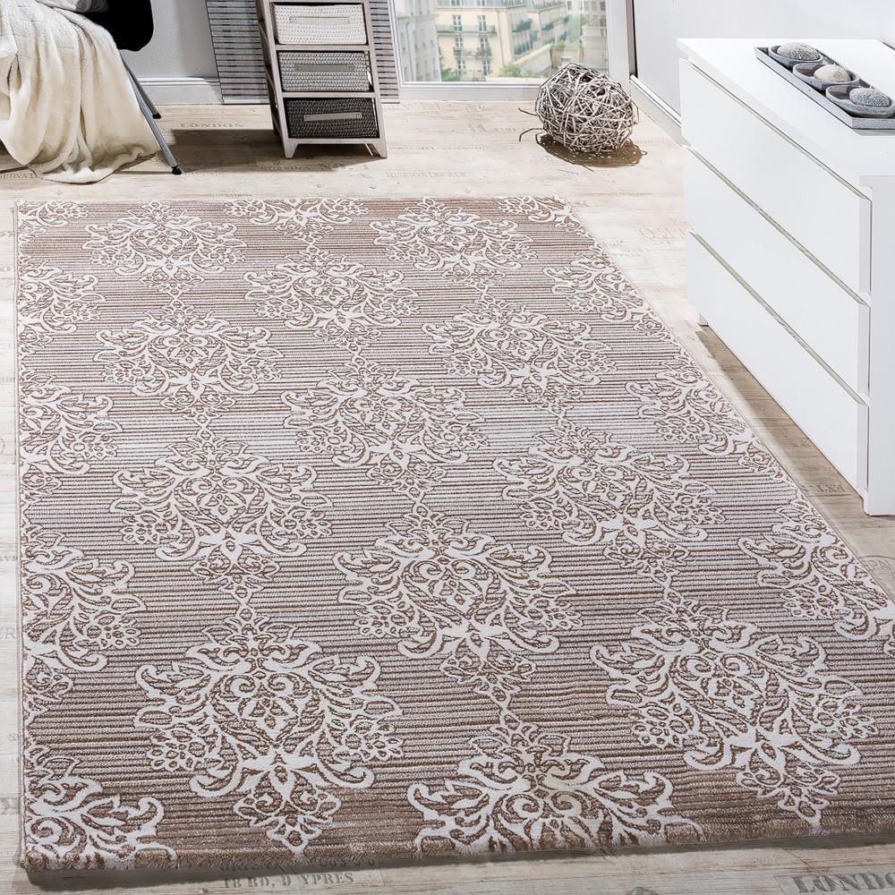 Teppich Wohnzimmer Floral Muster Abstrakt Beige Creme Design Teppiche