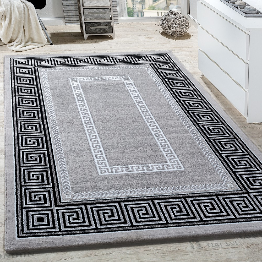 Carpets For Living Room | Rug Living Room Border Ornamental Abstract Grey Rug24