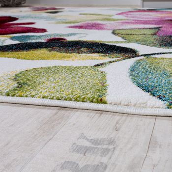 Modern canvas design rug colourful flower pattern multi-coloured  – Bild 2