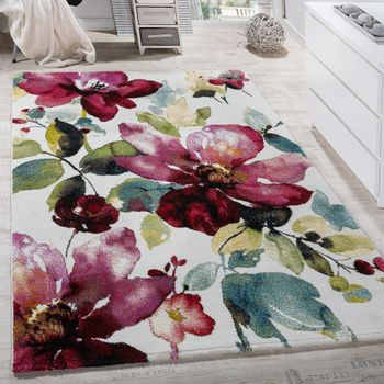 Modern canvas design rug colourful flower pattern multi-coloured  – Bild 1