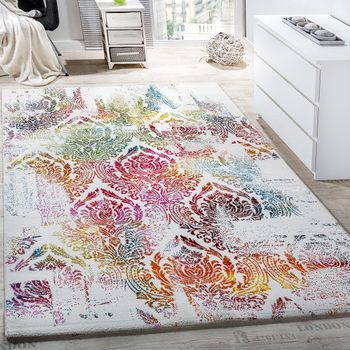 Modern canvas design rug colourful decorative floral pattern cream and turquoise – Bild 1