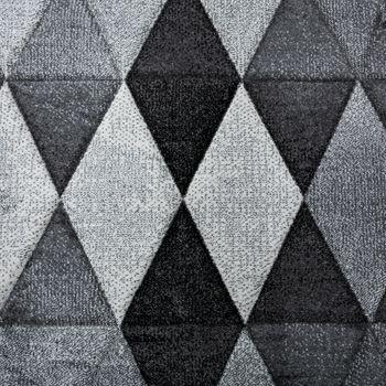 Designer Teppich Bunte Raute Muster Konturenschnitt Grau Anthrazit Creme Meliert – Bild 3
