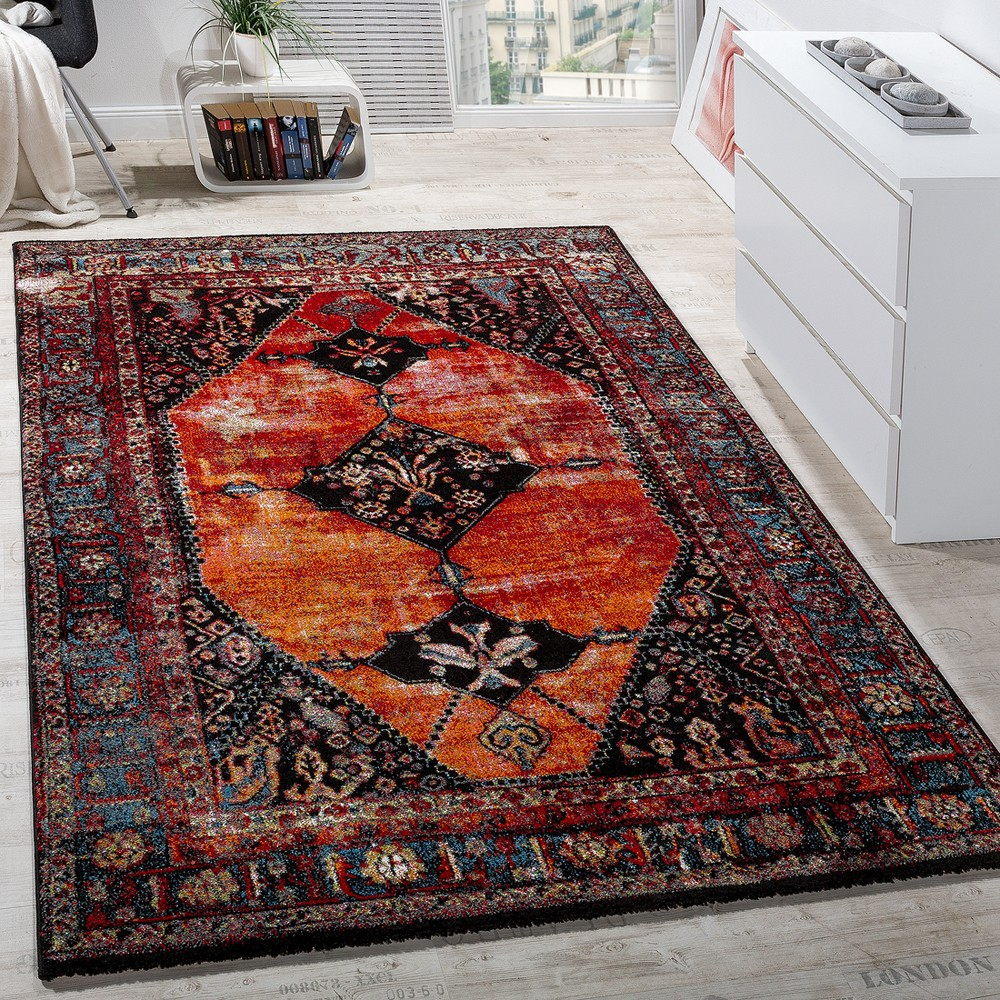 Modern multi-coloured short-pile designer rug oriental design red brown other colours