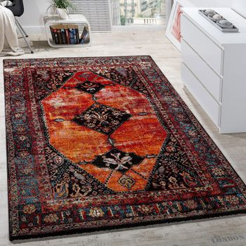 Multi-coloured oriental designer rug red
