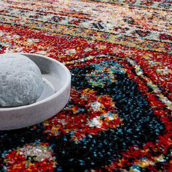 Designer Teppich Modern Kurzflor Orientalisch Design Schwarz Rot Türkis Beige – Bild 3