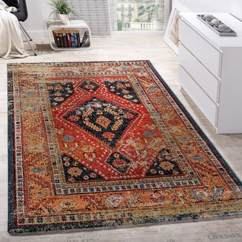 Oriental designer rug black and red