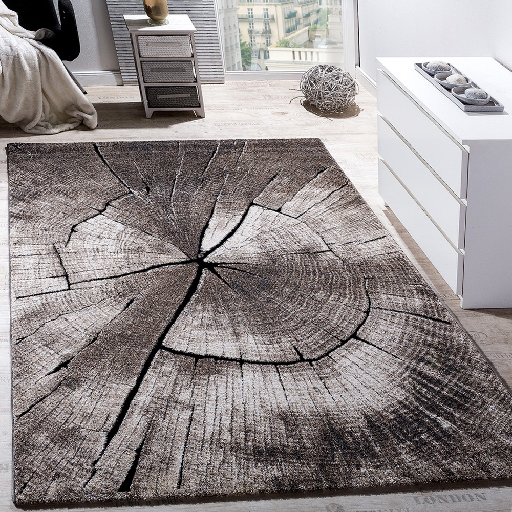 Elegant Designer Rug Lounge Tree Trunk Design Nature Grey Brown Beige