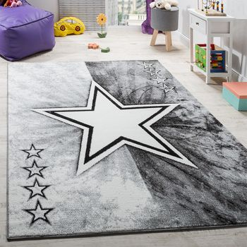 Carpet Children's room Star Design Play mat Children's carpet Short pile in Grey – Bild 1