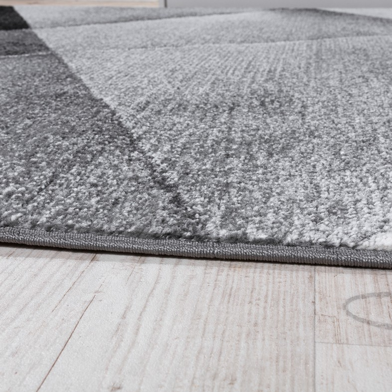 Designer Carpet Modern Geometric Pattern Short pile Grey Black White ...