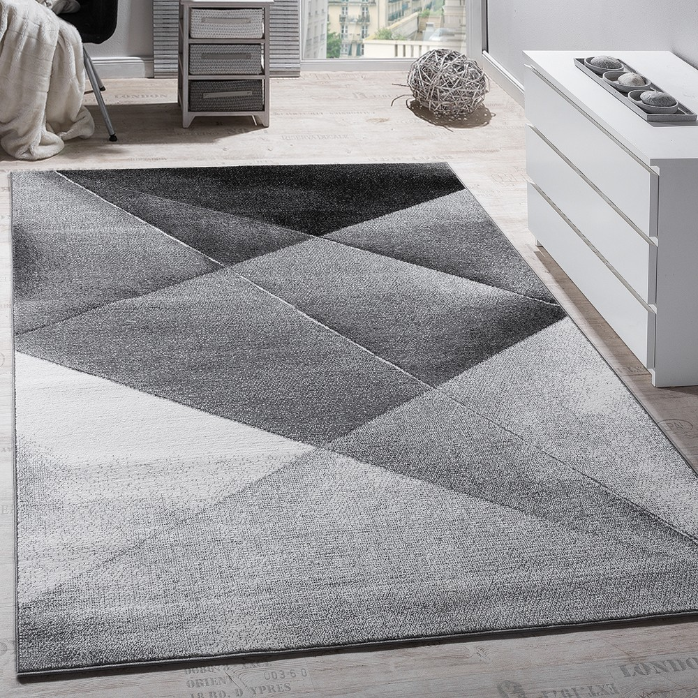 tapis design moderne motifs g om triques poils ras gris noir blanc chin tapis tapis poil ras. Black Bedroom Furniture Sets. Home Design Ideas