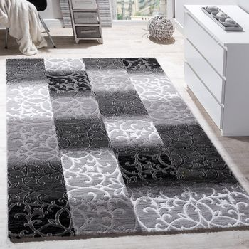 Tapis Salon Carreaux Abstrait Décoration Design Chiné Gris Crème Anthracite – Bild 1