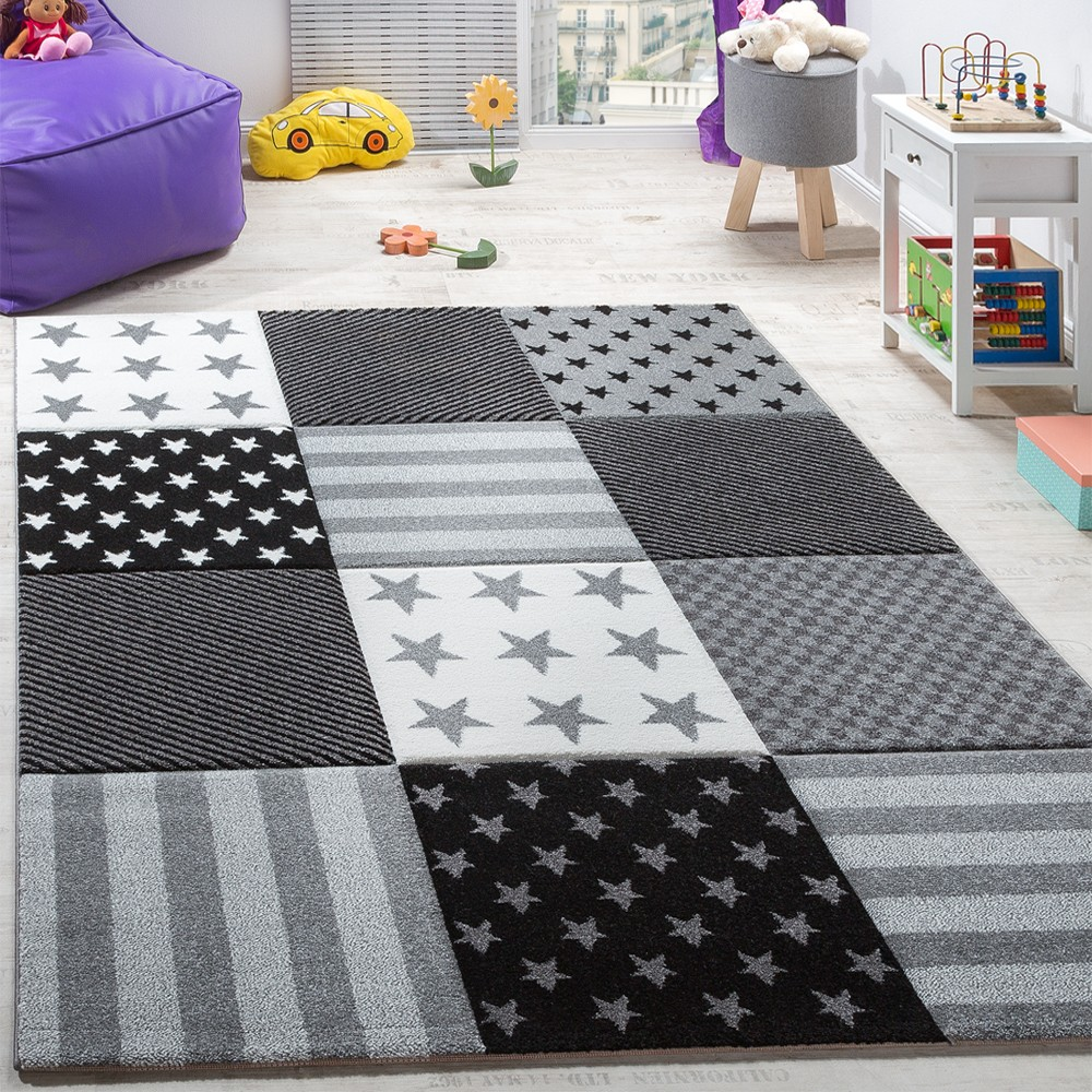 Kinderzimmer sterne grau  Kinderteppich Sterne Muster Kurzflor Konturenschnitt Karo Design ...