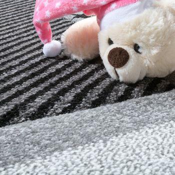 Kinderteppich Sterne Muster Kurzflor Konturenschnitt Karo Design Grau Schwarz  – Bild 2