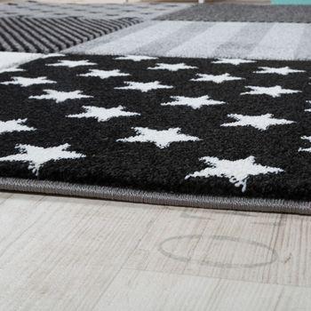 Kinderteppich Sterne Muster Kurzflor Konturenschnitt Karo Design Grau Schwarz  – Bild 3