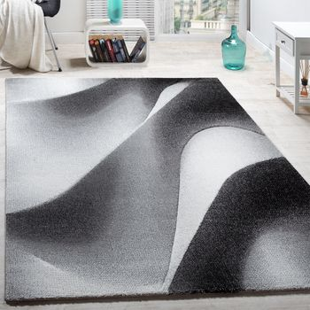Modern contour-cut designer rug abstract wave pattern grey and cream – Bild 1