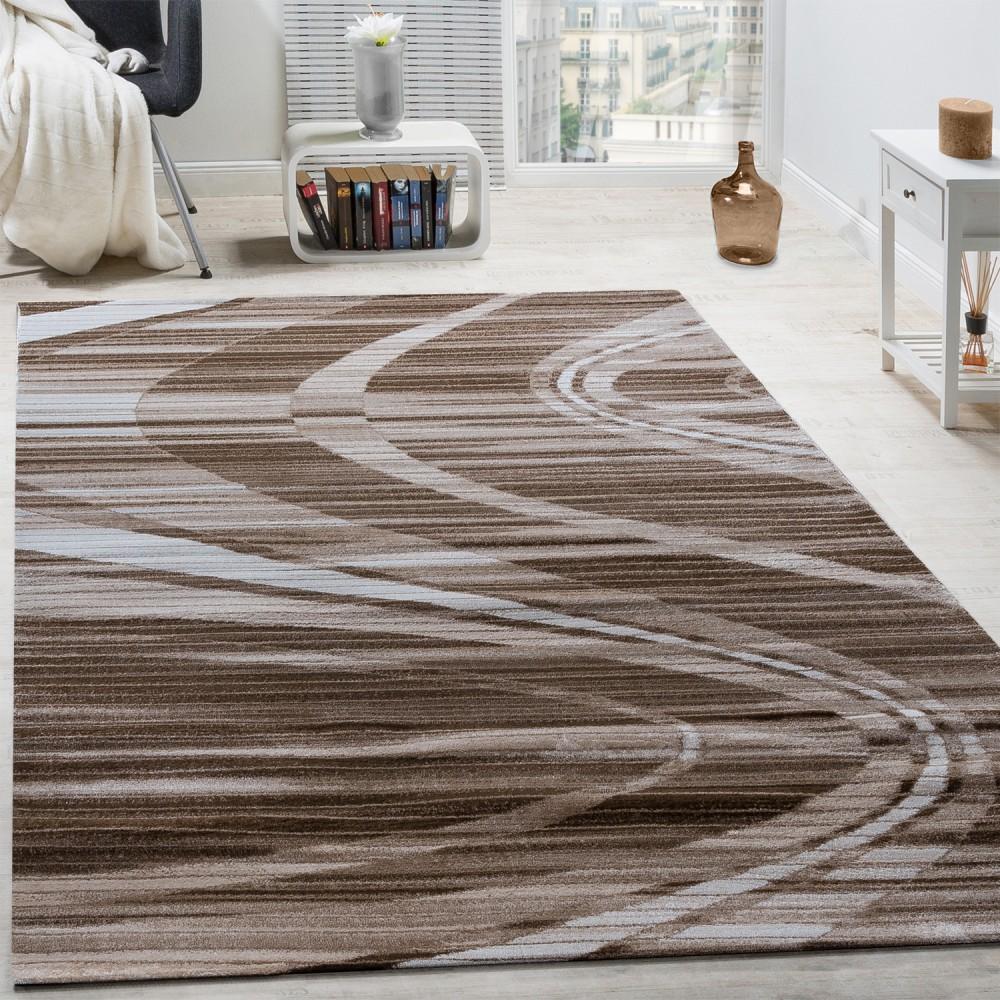 Edler Designer Teppich Geschwungene Linien Kurzflor Braun Creme Schwarz Meliert