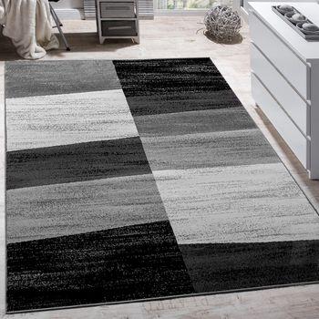 Designer Teppich Modern Abstrakt Optik Kariert Kurzflor Meliert In Grau – Bild 1
