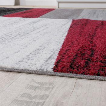 Designer Teppich Modern Abstrakt Optik Kariert Kurzflor Meliert In Rot – Bild 2