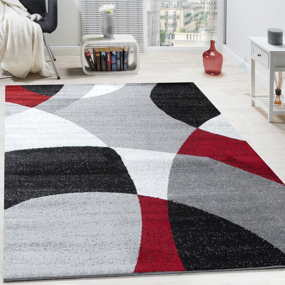 tapis design poils ras tapis moderne abstrait demi cercles motif en rouge gris tapis tapis poil ras. Black Bedroom Furniture Sets. Home Design Ideas