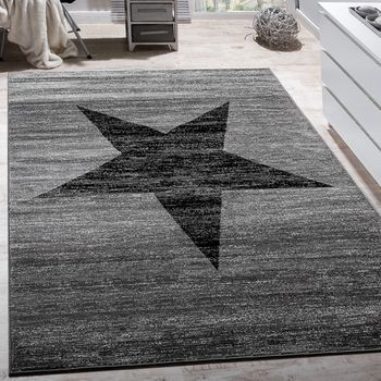 Designer Rug Star Pattern Grey