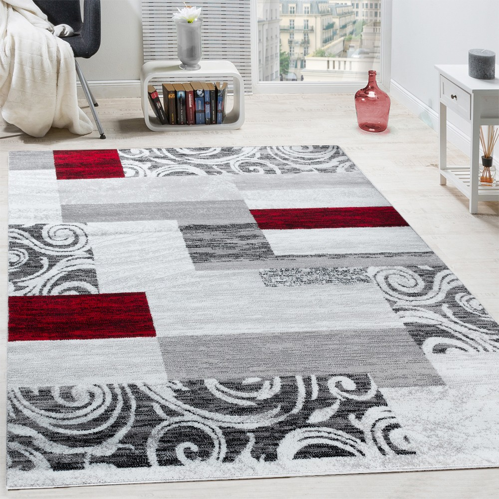tapis swirl carreaux rouge gris tapis24. Black Bedroom Furniture Sets. Home Design Ideas