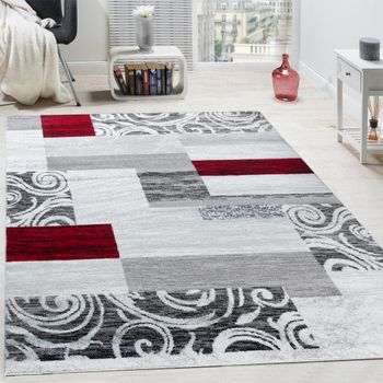 Tapis Swirl Carreaux Rouge Gris
