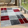 Designer Teppich Marmor Optik Rot 001