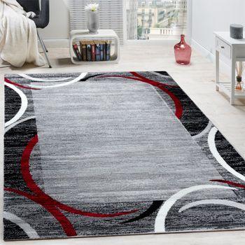 Wohnzimmer Teppich Bordüre Kurzflor Meliert Modern Hochwertig Grau Schwarz Rot – Bild 1