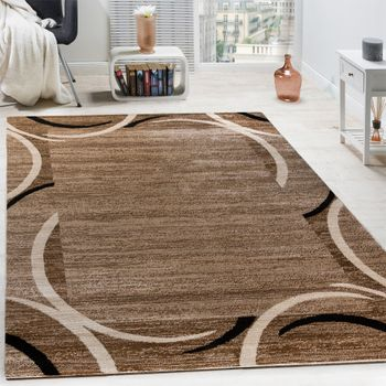 Rug Designer Living Room Brown Black Cream