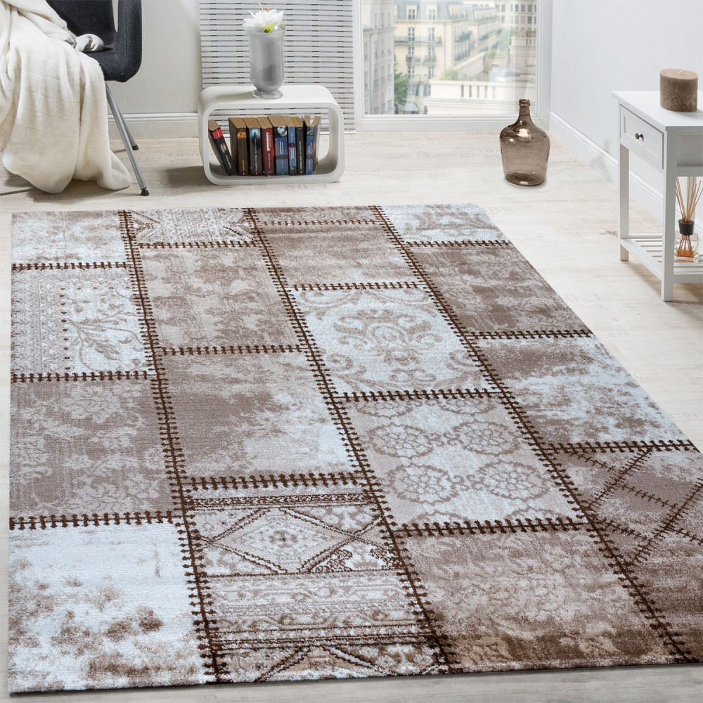 Designer Rug Modern Ornamental With Rectangles Abstract Mottled In Beige  Brown