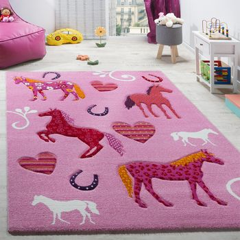 Kinderzimmer Teppich Kinderteppich Pferde Huf Herz Motive Konturenschnitt Pink – Bild 1