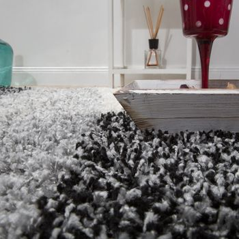 Shaggy carpet High Pile Long Pile Patterned In Grey Black White – Bild 4