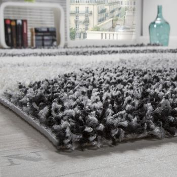Shaggy carpet High Pile Long Pile Patterned In Grey Black White – Bild 3