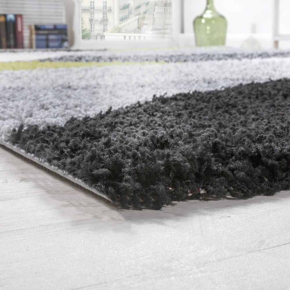 shaggy geometrisch gemustert grau gr n hochflor teppiche. Black Bedroom Furniture Sets. Home Design Ideas