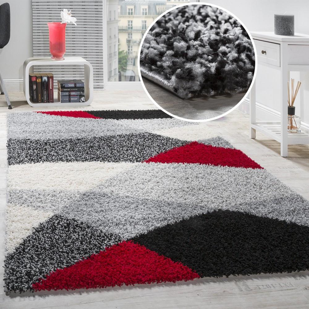 shaggy geometrisch gemustert grau rot. Black Bedroom Furniture Sets. Home Design Ideas