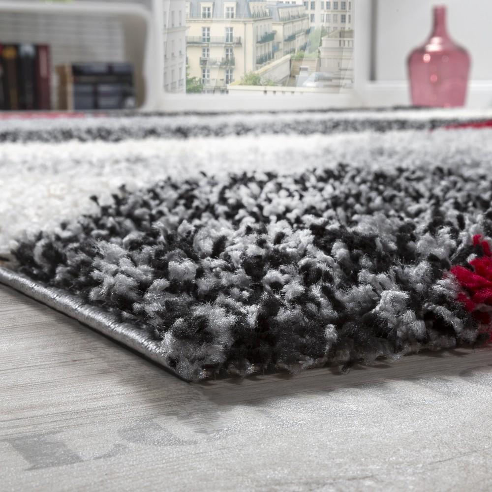 shaggy geometrisch gemustert grau rot hochflor teppiche. Black Bedroom Furniture Sets. Home Design Ideas