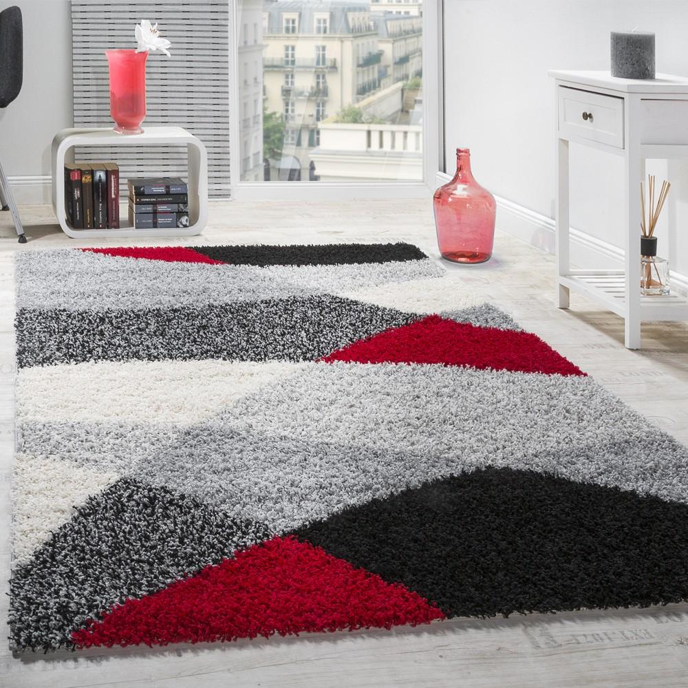 Shaggy Geometrisch Gemustert Grau Rot Hochflor Teppiche