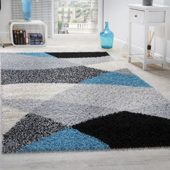 Shaggy carpet High Pile Long Pile Patterned In Grey Black White – Bild 1
