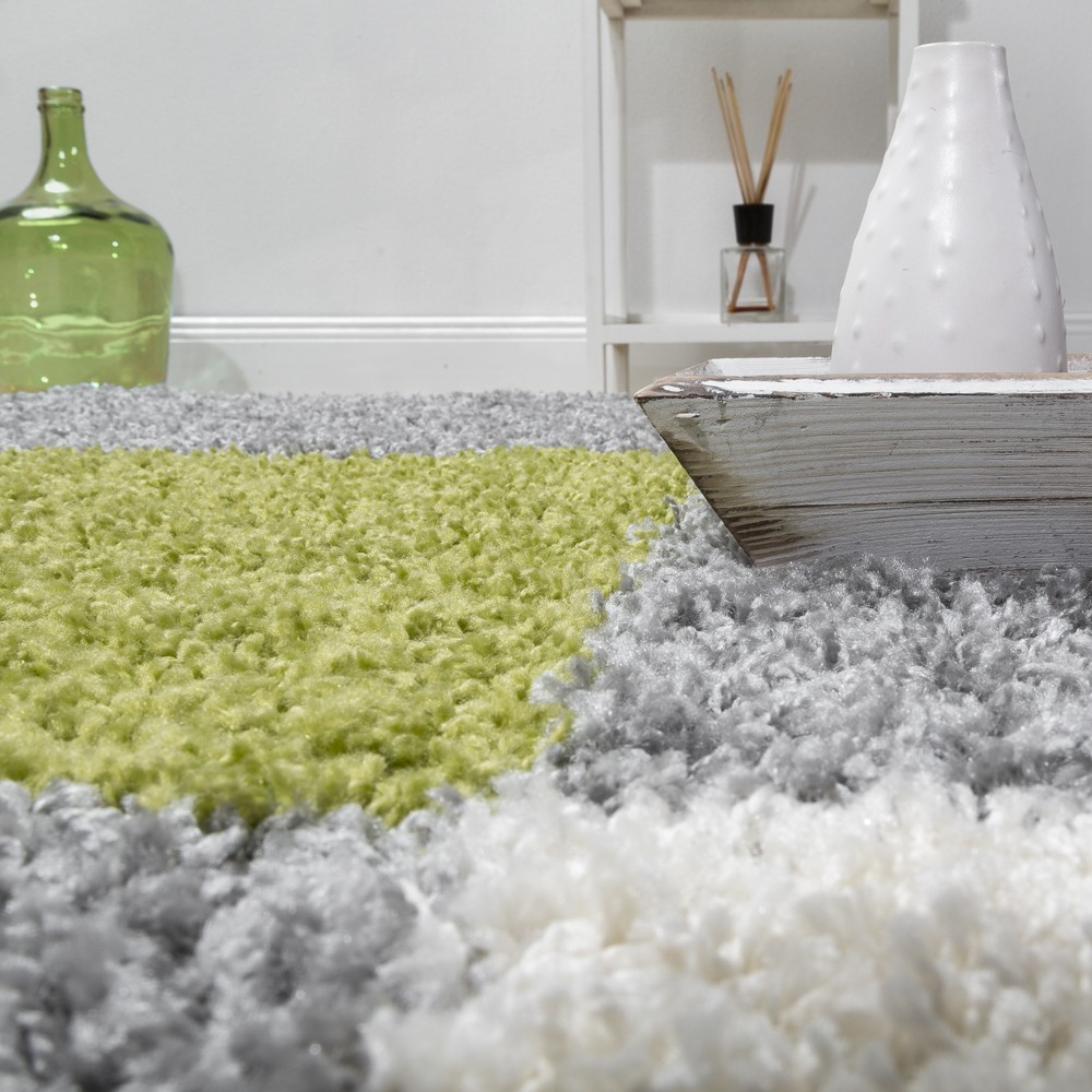 modern shaggy rug shaggy check pattern anthology carpets green grey white ebay