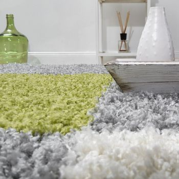 Shaggy Carpet High Pile Long Pile Chequered in Green Grey White – Bild 4