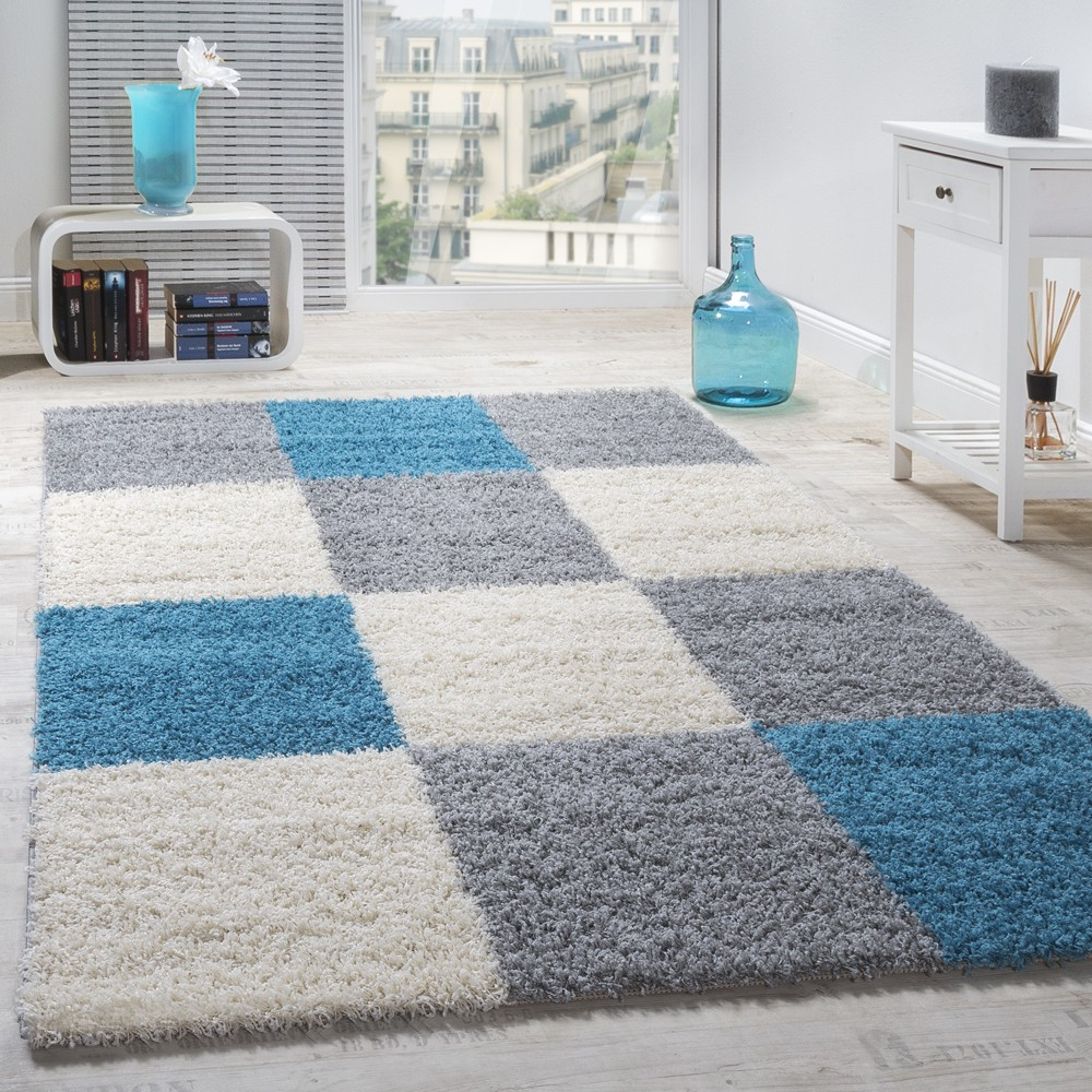 tapis shaggy longues m ches hautes carreaux gris blanc turquoise tapis tapis shaggy poils longs. Black Bedroom Furniture Sets. Home Design Ideas