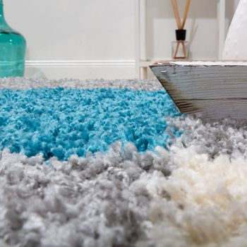 Shaggy Carpet High Pile Long Pile Chequered in White Blue Grey – Bild 4