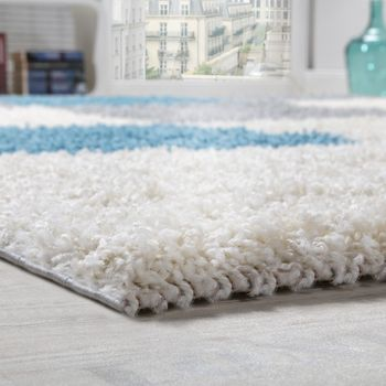 Shaggy Carpet High Pile Long Pile Chequered in White Blue Grey – Bild 3