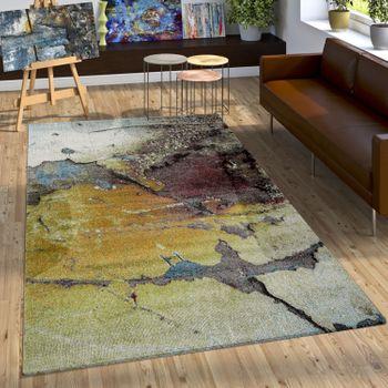 Designer Teppich Bunte Abstrakte Muster Hoch Tief Optik Gelb Blau Weiß Meliert – Bild 1