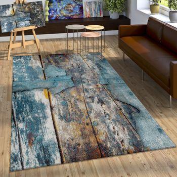 Designer Teppich Bunte Holz Optik Hoch Tief Optik In Türkis Gelb Blau Meliert – Bild 1