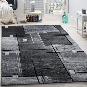 Designer Teppich Abstrakt Grau Schwarz Meliert