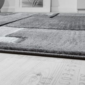 Designer Teppich Konturenschnitt Abstrakt Karo Linien Grau Schwarz Meliert  – Bild 2